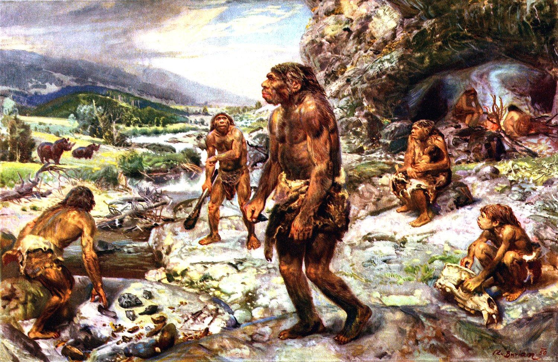 Стоянка древних людей, художественное изображение
