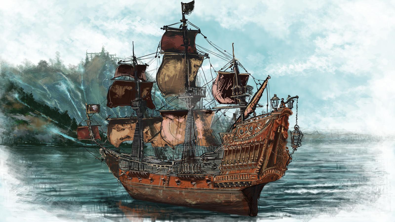 пираты черного моря, пиратский корабль