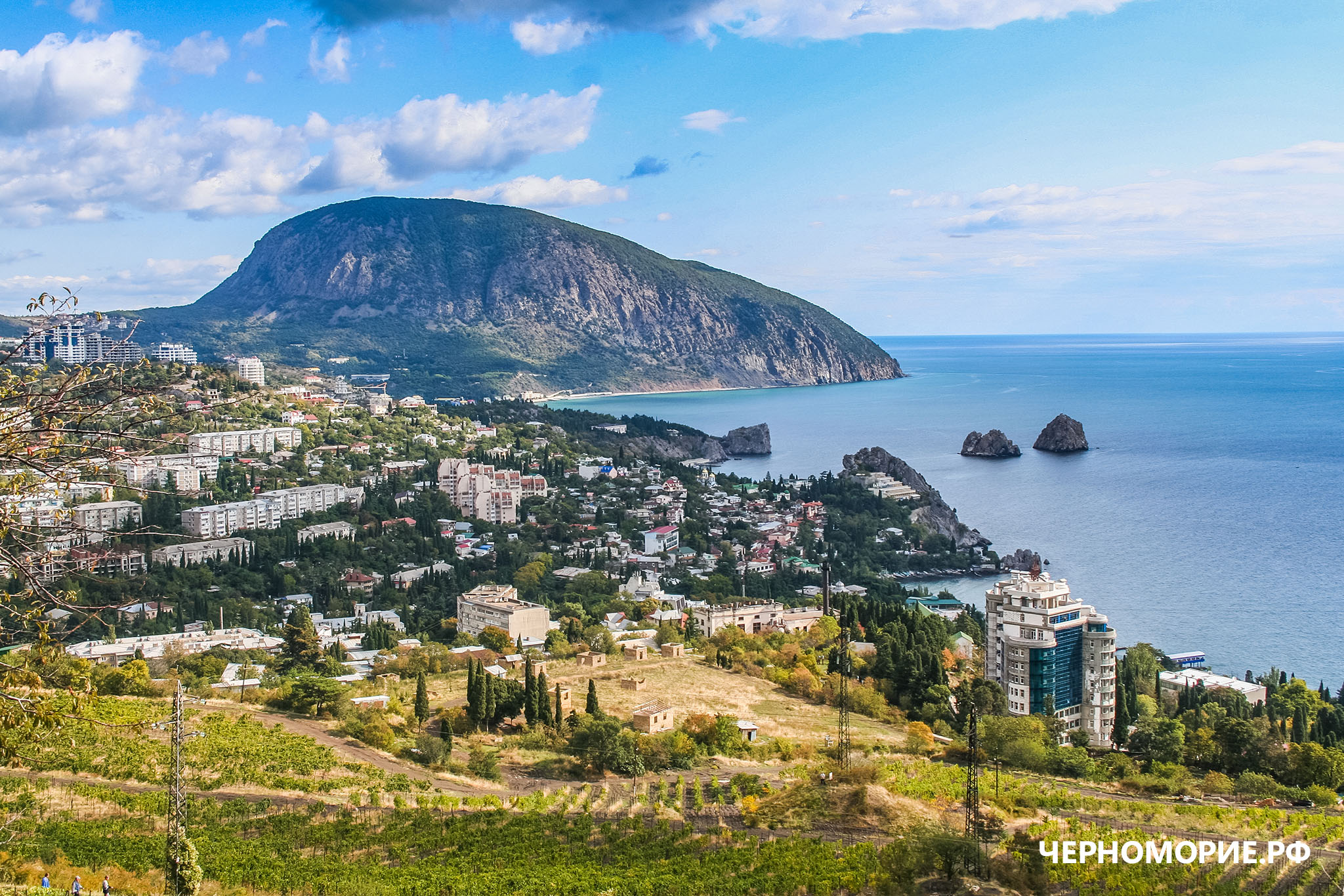 Вид на Гурзуф и медведь-гору в Крыму